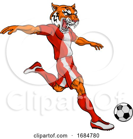 Tiger Soccer Football Player Animal Sports Mascot by ...