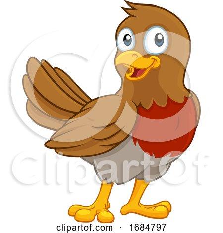 Christmas Robin Redbreast Cartoon Bird by AtStockIllustration