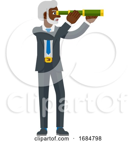 Telescope Spyglass Character Business Concept by AtStockIllustration