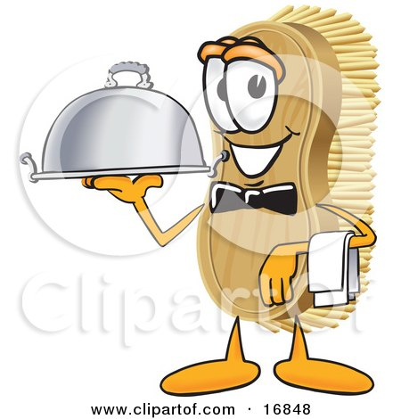 Clipart Picture of a Scrub Brush Mascot Cartoon Character Serving a Dinner Platter While Waiting Tables by Toons4Biz