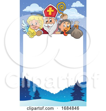 Saint Nicholas Angel and Krampus over a Border by visekart