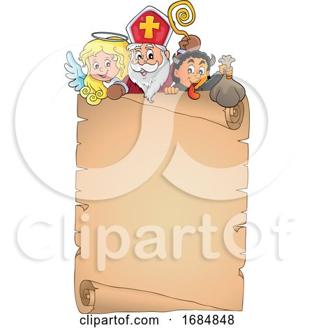 Saint Nicholas Angel and Krampus over a Scroll by visekart