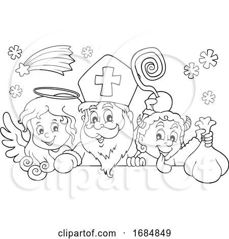 Saint Nicholas Angel and Krampus over a Sign by visekart