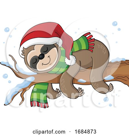 Christmas Sloth Sleeping on a Branch by visekart