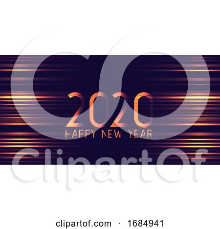 Futuristic Glowing Happy New Year Banner Design by KJ Pargeter