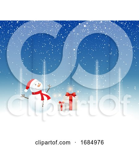 Christmas Background with Snowman and Gifts by KJ Pargeter