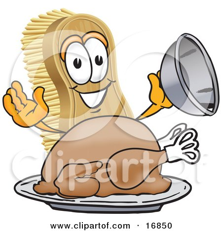 Clipart Picture of a Scrub Brush Mascot Cartoon Character Serving a Cooked Thanksgiving Turkey on a Platter by Toons4Biz