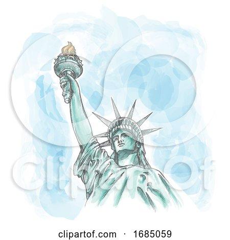 The Statue of Liberty on Watercolor Sky by Domenico Condello