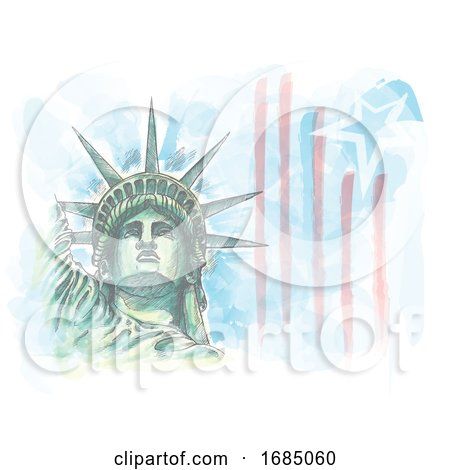 Watercolor Sketch of Statue of Liberty Face with Flag by Domenico Condello