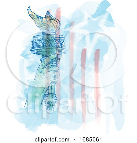 Watercolor Torch of Statue of Liberty on USA Flag by Domenico Condello