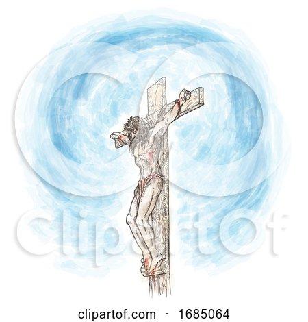 Jesus Crucifix Watercolor Hand Draw by Domenico Condello