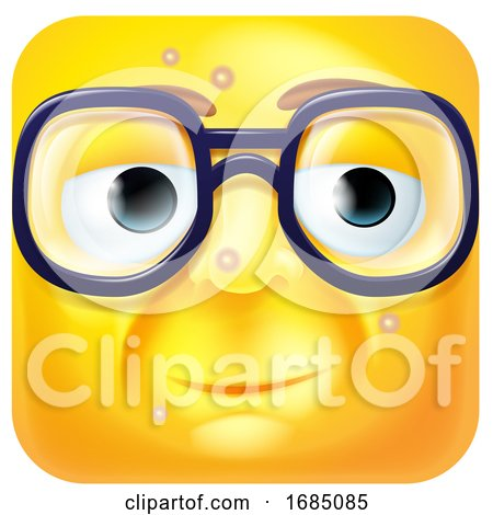 Square Emoticon with Blemishes and Glasses by AtStockIllustration