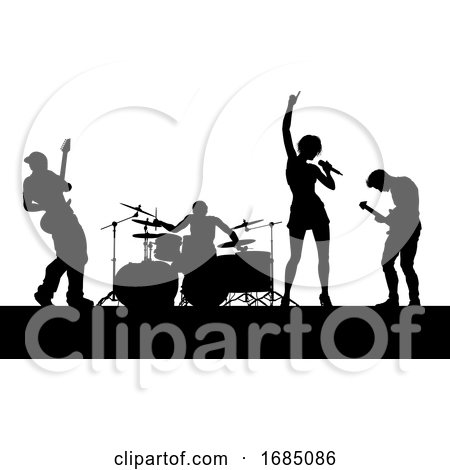 Music Band Concert Silhouettes by AtStockIllustration