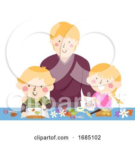 Dad Kids Activity Flower Pounding Illustration by BNP Design Studio