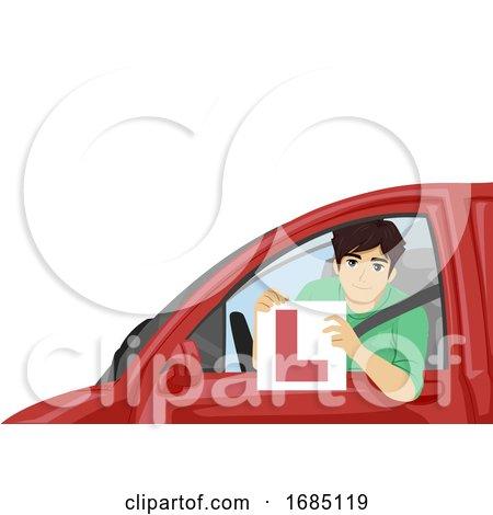 Teen Boy Pass Driving Lesson Illustration by BNP Design Studio