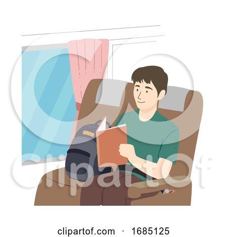 Teen Guy Read Book Bus Illustration by BNP Design Studio
