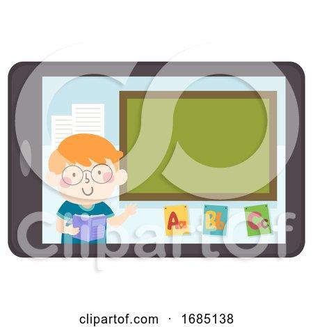Kid Boy Tablet Teach Blackboard Illustration by BNP Design Studio
