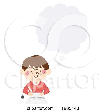 Kid Boy Write Quill Thinking Cloud Illustration by BNP Design Studio