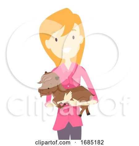 Girl Save Baby Goat Illustration by BNP Design Studio