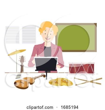 Girl Music Teacher Illustration by BNP Design Studio