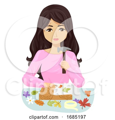 Teen Girl Activity Flower Pounding Illustration by BNP Design Studio