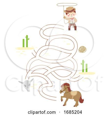 Kid Boy Cowboy Puzzle Horse Illustration Posters, Art Prints