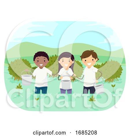 Stickman Teens Plant Mangroves Illustration by BNP Design Studio