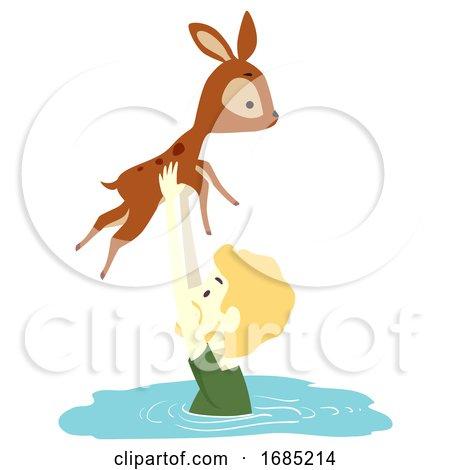 Man Deer Save River Crossing Illustration by BNP Design Studio