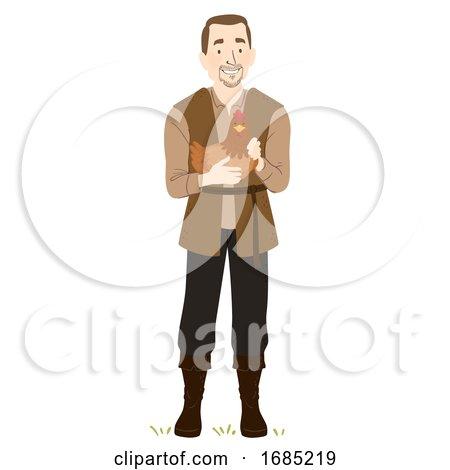 Man Medieval Farmer Chicken Illustration by BNP Design Studio