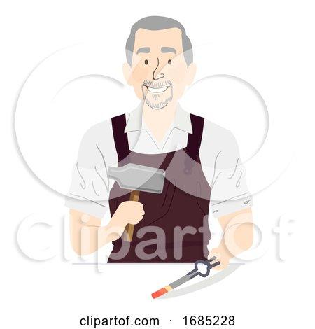 Man Senior Blacksmith Medieval Illustration by BNP Design Studio