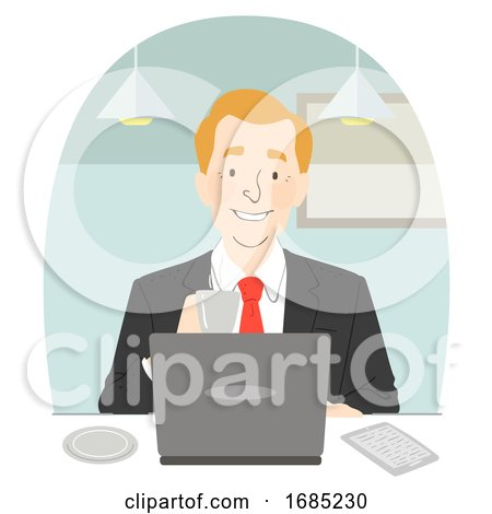 Man Suit Coffee Laptop Cafe Illustration by BNP Design Studio