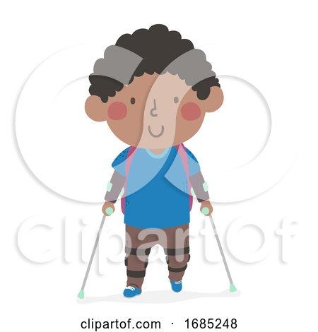 Kid Boy Kid Leg Brace Going School Illustration by BNP Design Studio