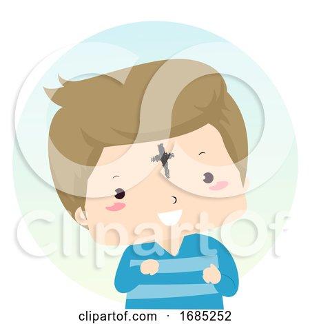Kid Boy Ash Wednesday Forehead Illustration by BNP Design Studio