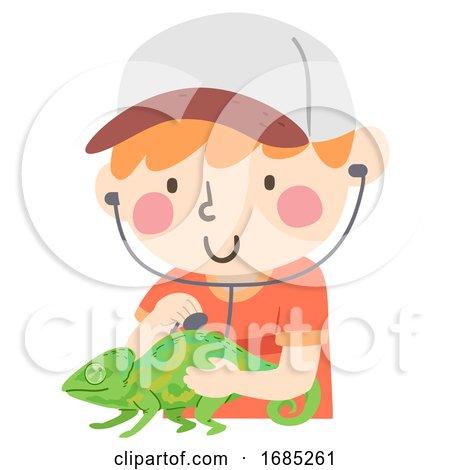 Kid Boy Reptile Vet Chameleon Illustration by BNP Design Studio