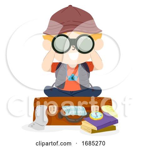 Kid Boy Travel Suitcase Binoculars Illustration by BNP Design Studio