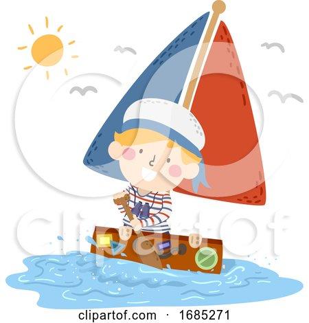 Kid Boy Travel Suitcase Sea Boat Illustration by BNP Design Studio
