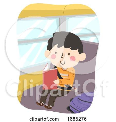 Kid Boy Read Book Bus Illustration by BNP Design Studio