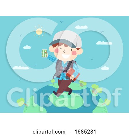 Kid Boy Map Travel World Mobile App Illustration by BNP Design Studio