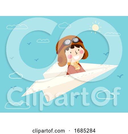 Kid Boy Fly Paper Plane Pilot Illustration by BNP Design Studio
