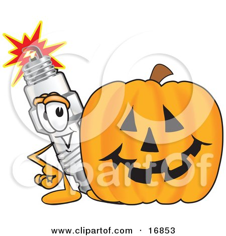 Clipart Picture of a Spark Plug Mascot Cartoon Character Standing by a Halloween Pumpkin by Toons4Biz