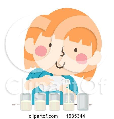 Kid Girl Divide Equal Glass Milk Illustration by BNP Design Studio