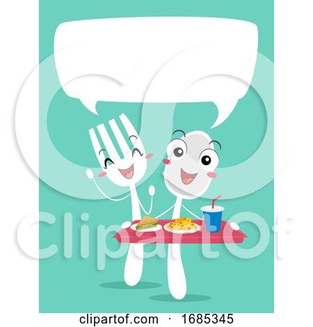 Mascot Spoon Fork Food Order Talk Illustration by BNP Design Studio