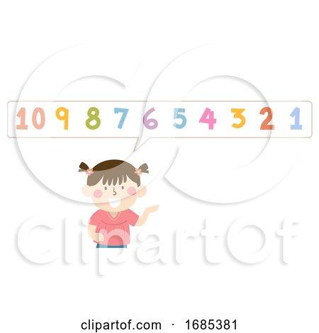 Kid Girl Count Backwards Illustration by BNP Design Studio