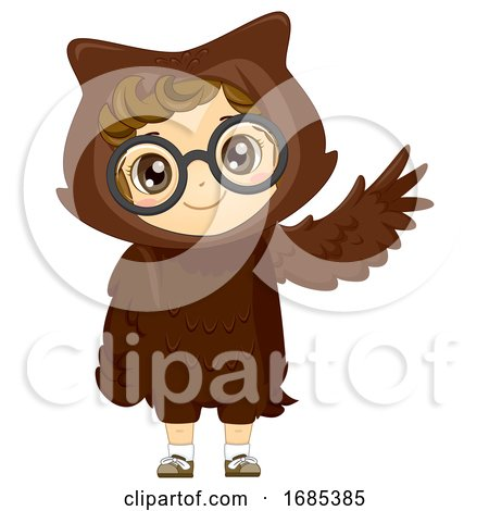 Kid Girl Woodland Animal Owl Costume Illustration by BNP Design Studio