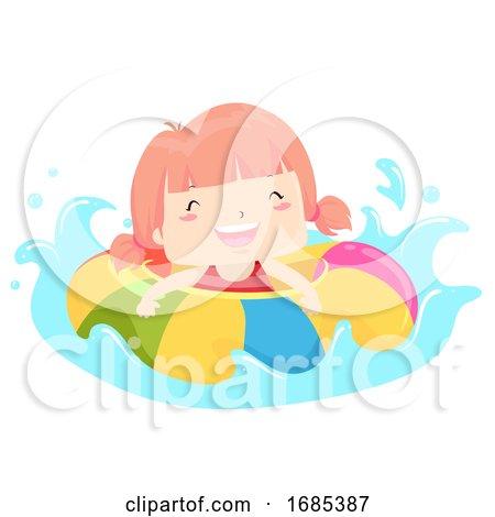 Kid Girl Float Happy Swimming Illustration by BNP Design Studio