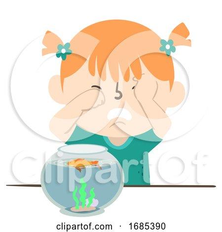 Kid Girl Cry Pet Fish Die Aquarium Illustration by BNP Design Studio