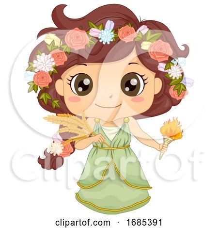 Kid Girl Greek God Demeter Costume Illustration by BNP Design Studio