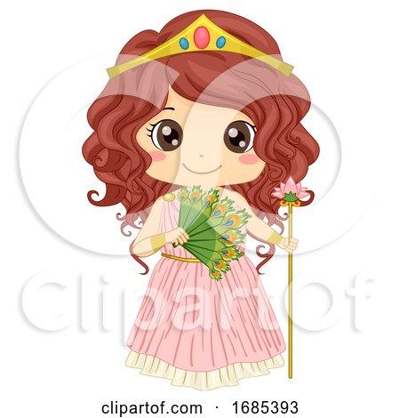 Kid Girl Greek Goddess Hera Costume Illustration by BNP Design Studio