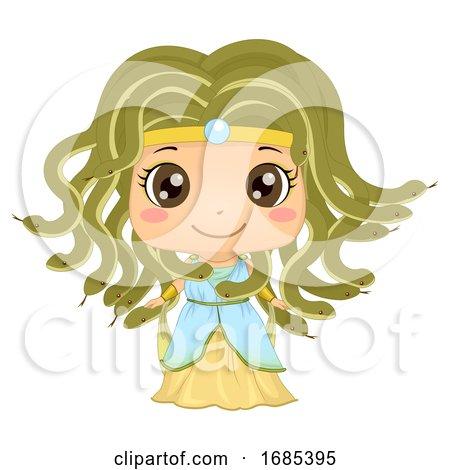 Kid Girl Greek Medusa Costume Illustration by BNP Design Studio