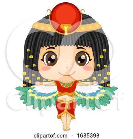 Kid Girl Egyptian Goddess Isis Illustration by BNP Design Studio